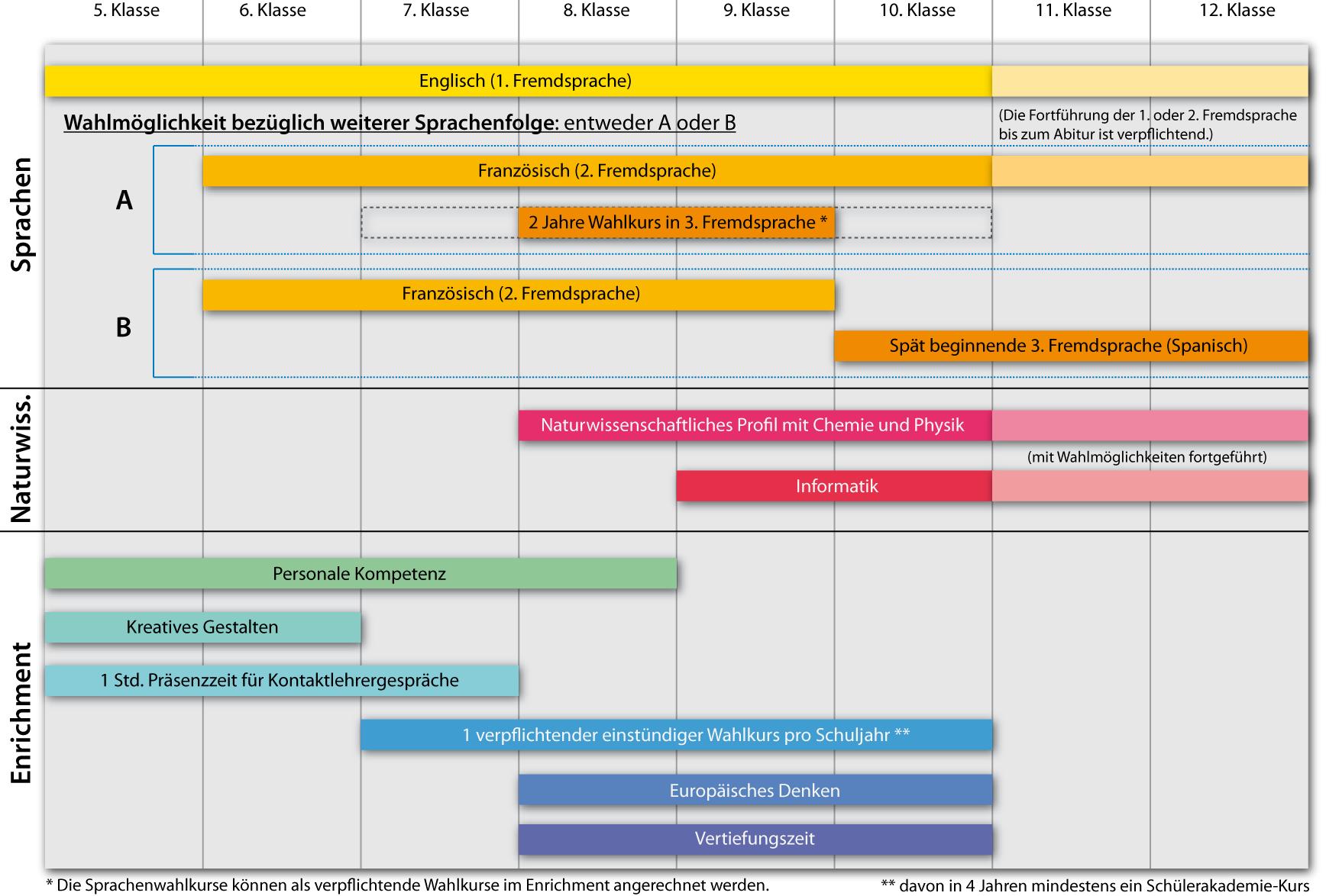 Ausbildungsstruktur der Modellklassen am Deutschhaus-Gymnasium
